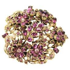 38871a - Hollycraft 1956 Light & Dark Purple Bow Knot & Flower Huge Brooch/Pin