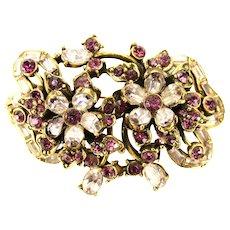 38879a - Hollycraft 1956 Light & Dark Purple Bow Knot & Flower Brooch/Pin