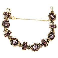 38885a - Hollycraft 1956 Light & Dark Purple Bow Knot & Flower Bracelet
