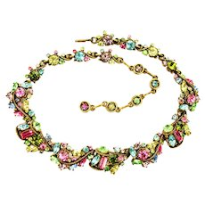 38927a - HOLLYCRAFT 1957 Multi Color Pastel Scrolled Necklace/Dog Collar