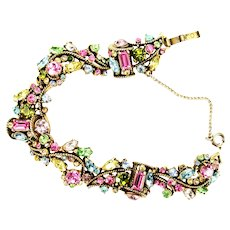 38934a - Hollycraft 1957 Multi Color Pastel Rhinestones Bracelet