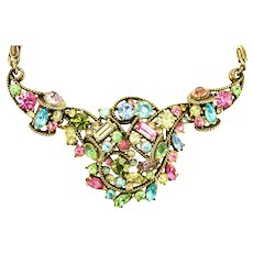 38944a - HOLLYCRAFT 1957 Multi Pastel Colored Scrolled Necklace