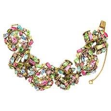 38976a - Hollycraft 1957 Multi Color Pastel Wide Bracelet