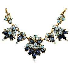 39024a - Hollycraft 1952 Light Sapphire & Montana Color Stone Necklace