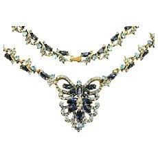 39028a - Hollycraft 1952 Light Sapphire & Montana Color Stones Huge BIB Necklace