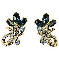 39040a - Hollycraft 1952 Light Sapphire & Montana Stones Screw-On Earrings