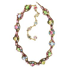 39043a - HOLLYCRAFT 1955 Multi Pastel Colored Necklace/Dog Collar