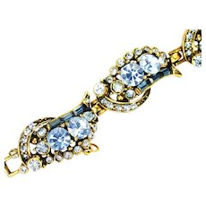 39064a - Hollycraft 1955 Light Sapphire & Montana Stones Six Sections Bracelet