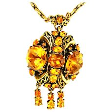 39076a - HOLLYCRAFT 1952 Big Yellow Topaz Colored Stones Necklace/Pendant