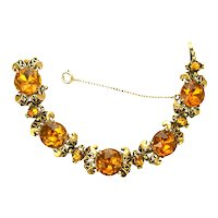 39079a - HOLLYCRAFT 1952 Big Yellow Topaz Colored Stones 5-Sections Bracelet