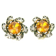 39086a - HOLLYCRAFT 1952 Big Yellow Topaz Colored Stones Clip-On Earrings