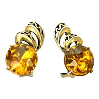 39089a - HOLLYCRAFT 1952 Big Yellow Topaz Colored Stones Clip-On Earrings