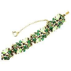 39115a - Hollycraft 1952 Green Emerald & Peridot Rhinestones Bracelet