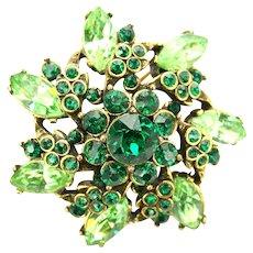 39122a - Hollycraft 1952  Peridot & Emerald Green Color Rhinestones Brooch/Pin