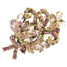 39158a - Hollycraft 1952 Light & Dark Amethyst Color Stones Bouquet Style Brooch
