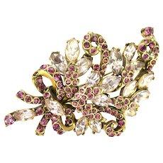 39162a - Hollycraft 1952 Light & Dark Amethyst Color Stones Bouquet Style Brooch