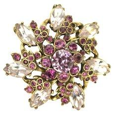 39168a - Hollycraft 1952 Light & Dark Amethyst Color Rhinestones Small Brooch