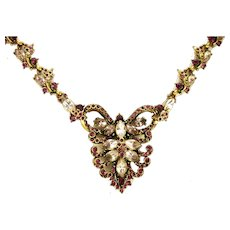 39191a - Hollycraft 1952 Light & Dark Amethyst Color Stones Huge BIB Necklace