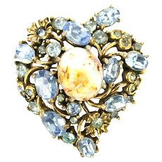 39253a - Hollycraft 1951 Light Sapphire Stones Opal Cabochon Heart Shaped Brooch