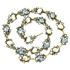 39259a - HOLLYCRAFT 1951 Light Sapphire Stones & Opal Light Blue Choker