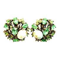 39351a - Hollycraft 1951 Peridot Green Stones & Opal Cabochon Earrings