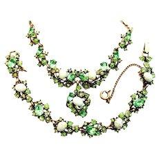 39359a -  Hollycraft 1951 Peridot Green Stones & Green Opal Cabochon Demi Set
