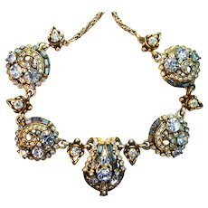 39416a - Hollycraft 1955 Light Sapphire & Montana Color Rhinestones Huge Necklace