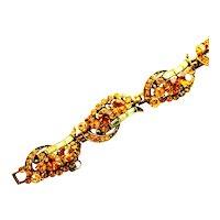 39436a - Hollycraft 1955 Topaz Chaton & Jonquil Baguette Rhinestones Bracelet