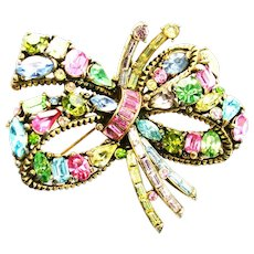39510a - Hollycraft 1955 Multi Color Pastel BOW Shaped Brooch/Pin