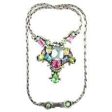 39527a - HOLLYCRAFT 1953 Pastel Center Piece Choker/Pendant/Necklace