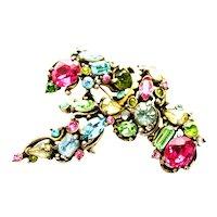 39537a - Hollycraft 1953 Multi Color Pastel Color Stones Big Brooch Pin
