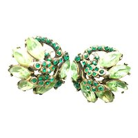 39576a - Hollycraft 1952 Peridot & Emerald Green Rhinestones Clip Back Earrings