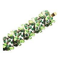 39601a - Hollycraft 1952 Peridot & Emerald Green Rhinestones Wide Bracelet
