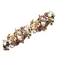 39621a - Hollycraft 1952 Light/Dark Amethyst Rhinestone 5-Section Bracelet