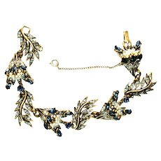 39708a - Hollycraft 1956 Blue Color Stones Wired Seed Pearls 8-Section Bracelet