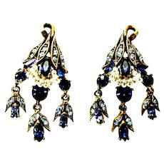 39720a - HOLLYCRAFT 1956 Blue Color Stones Wired Pearls Dangle Earrings
