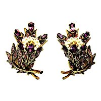 39723a - HOLLYCRAFT 1956 Purple Color Stones Wired Seed Pearls Clip Earrings