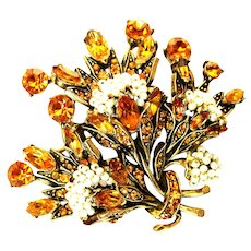 39777a - HOLLYCRAFT 1956 Topaz Color Stones Wired Seed Pearls Brooch/Pin