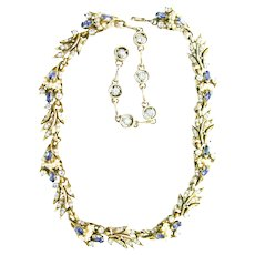 39780a - HOLLYCRAFT 1956 Blue Color Stones Wired Seed Pearls Necklace/Collar