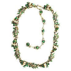 39792a - HOLLYCRAFT 1956 Green Color Stones Wired Seed Pearls Necklace/Collar