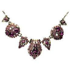 39936a - Hollycraft 1955 Purple Chaton/Lavender Baguette Necklace/Pendant