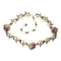 39951a - Hollycraft 1955 Purple Chaton/Lavender Baguette Necklace/Choker