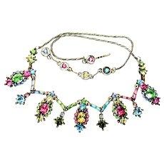 40030a - HOLLYCRAFT 1955 Pastel Multi Color 9-Dangle Drippy Necklace