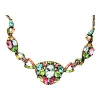 40038a - HOLLYCRAFT 1955 Pastel with Huge Center Stone Necklace