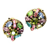 40089a - Hollycraft 1955 Pastel Rhinestones Clip Back Earrings