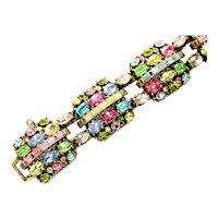40118a - Hollycraft 1955 Pastel Color Rhinestones - Chunky Bracelet