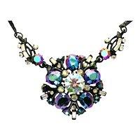 40208a - Blazing HOLLYCRAFT 1957 Black/Blue AB & Clear AB Drop Necklace
