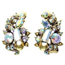 40365a - HOLLYCRAFT 1957 Light Sapphire AB Rhinestones Clip Earrings