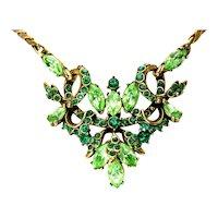 40389a - Hollycraft 1952 Peridot & Emerald Rhinestones Pendant/Necklace