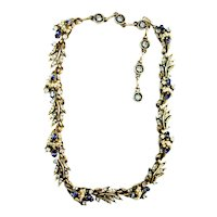 40395a - HOLLYCRAFT 1956 Blue Color Stones Wired Seed Pearls Necklace/Collar